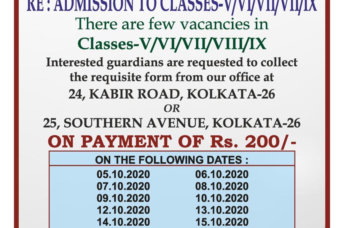 Re: Admission to Classes -V/VI/VII/VIII/IX/X