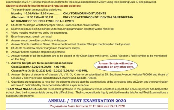 Class V-X Annual Examination rules and Regulations 2020